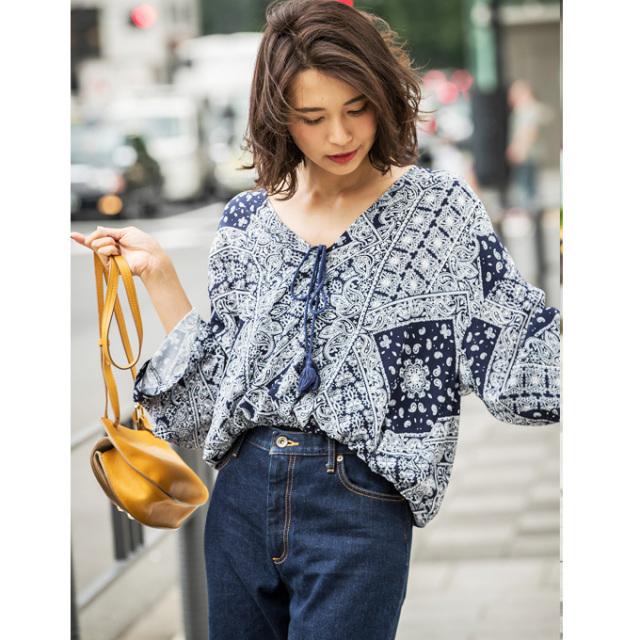 【Bandana print blouse】バンダナ柄 ブラウス