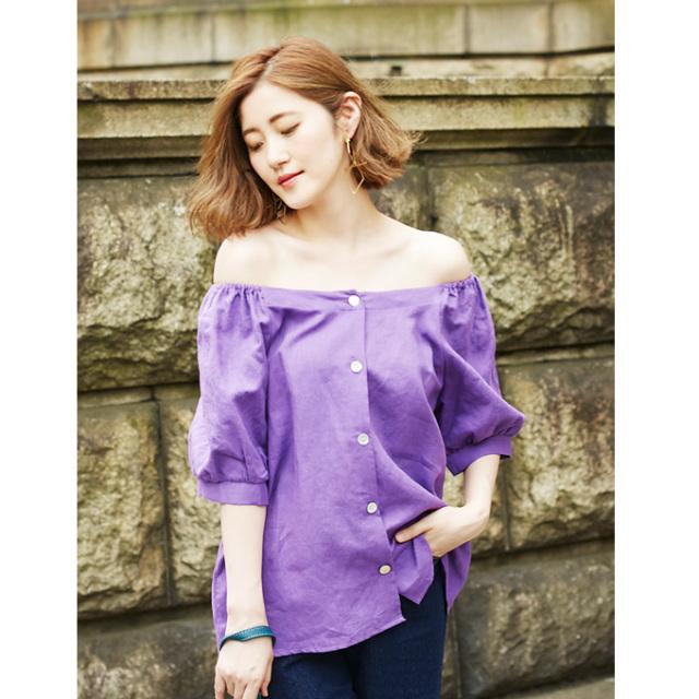 【2way linen blouse】2way リネン ブラウス