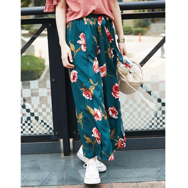 【Retro flower wide pants】レトロ花柄 ワイド パンツ
