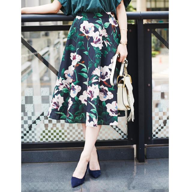 【Flower mimore skirt】フラワープリント ミモレ スカート