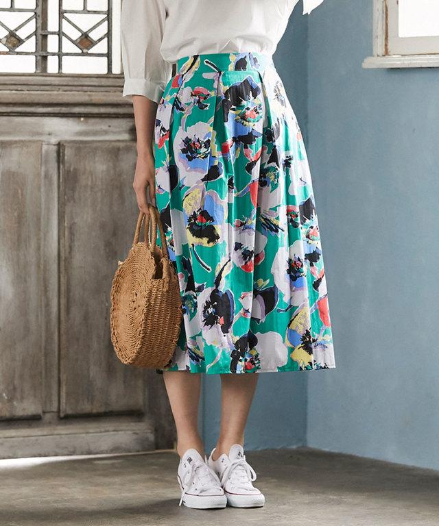 《WEB限定》花柄タックミモレスカート