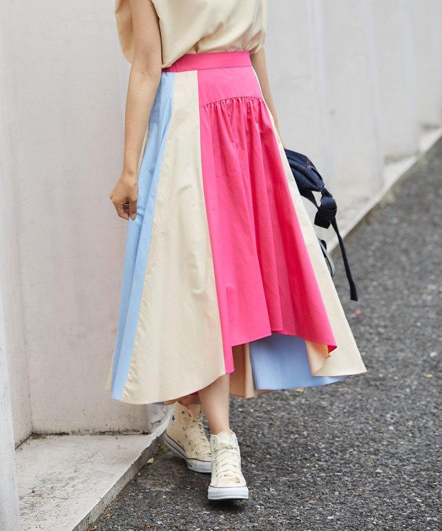 《WEB限定》カラーパネルヘムラインロングスカート