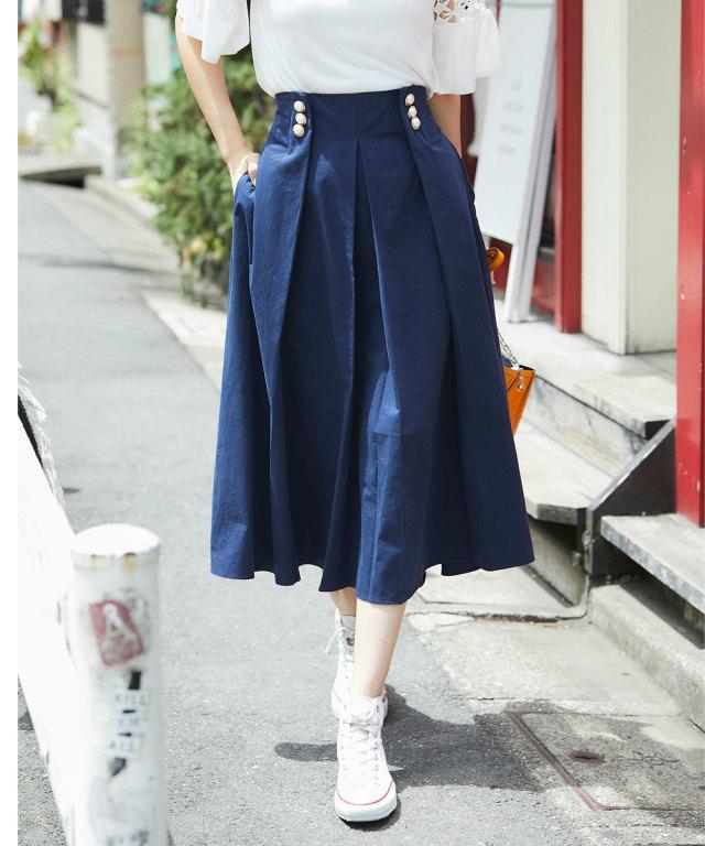 《WEB限定》デザインパールボタン付スカート