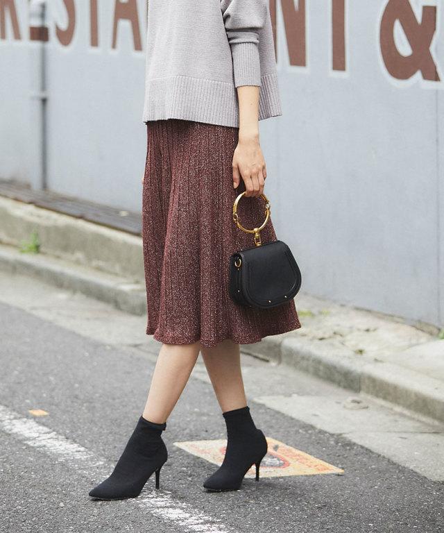 《WEB限定》ラメ混プリーツ風ニットスカート