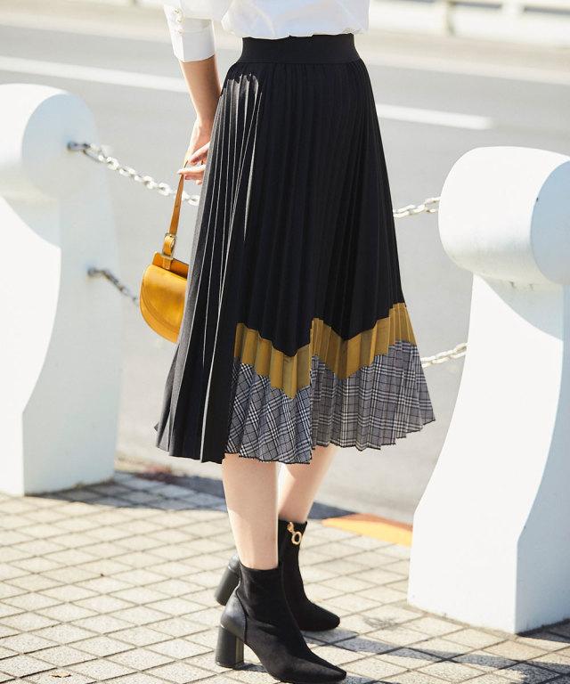《WEB限定》配色チェックプリーツスカート