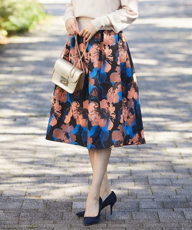 《WEB限定》花柄タックフレアスカート