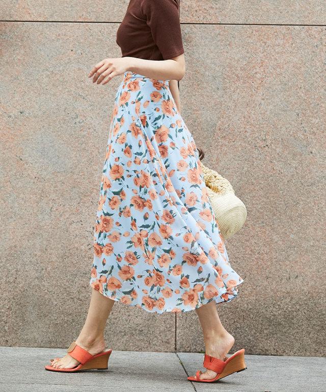 《WEB限定》花柄シフォンラップスカート