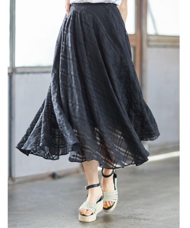 シアーチェックフレアスカート※店舗の販売日は2020年7月2日からになります。