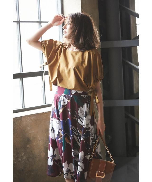 大花ペイント風フレアスカート
