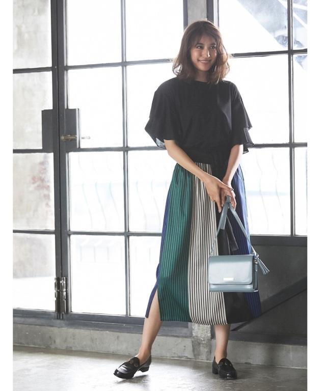 《MAYUさん着用》パネルストライププリントスカート