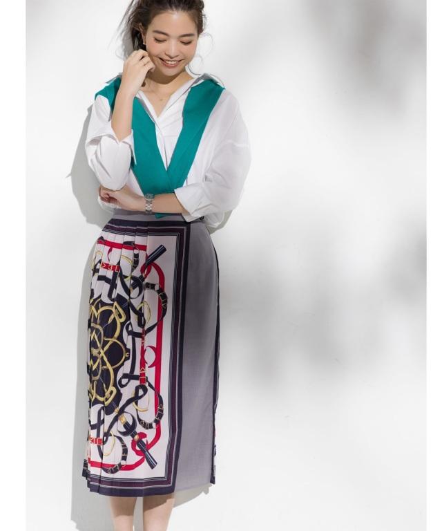 《佐藤 匠さん着用》Luxe lineスカーフ柄プリーツラップスカート*SALE品につき返品/交換/注文確定後の変更キャンセル不可*