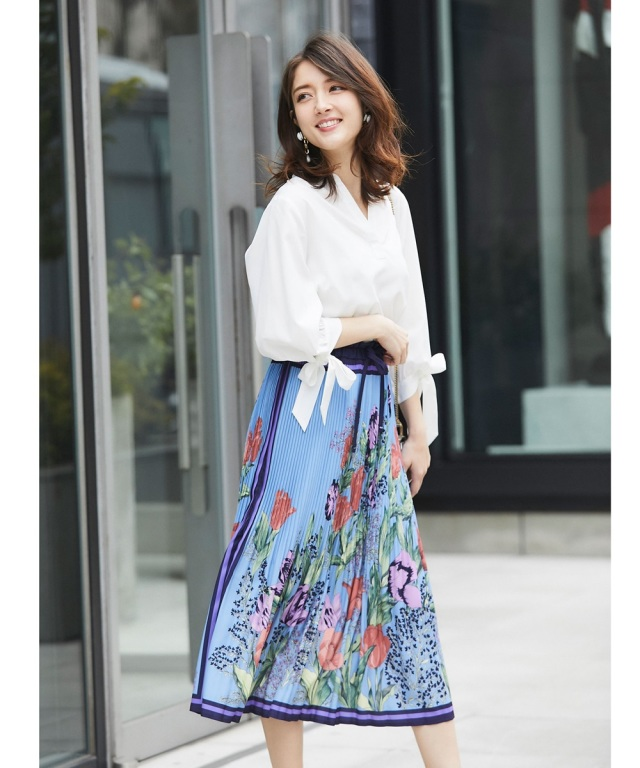 【Luxe line】スカーフ柄オフプリーツスカート