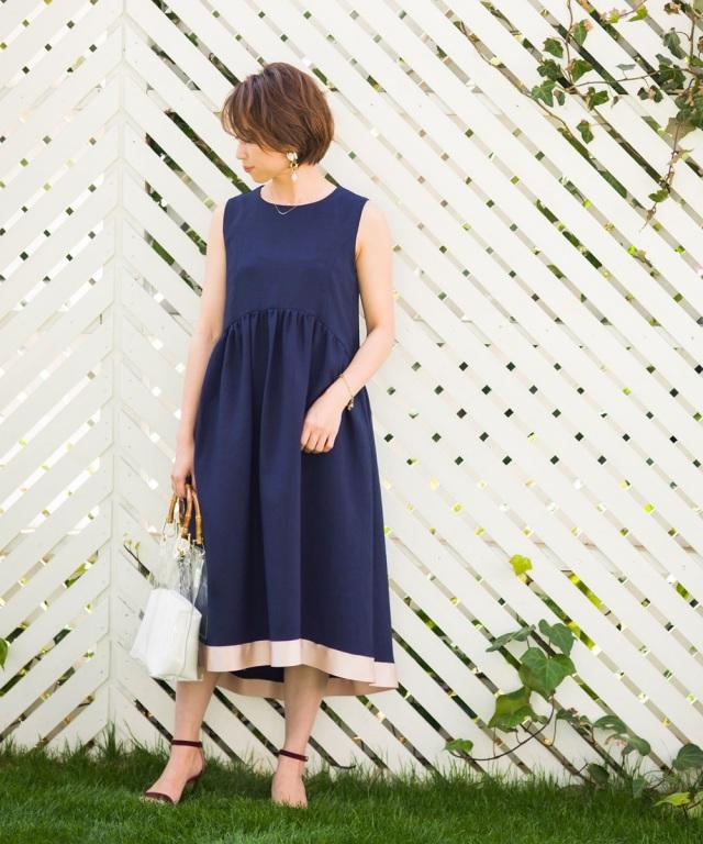 【Sサイズ企画】《@yu.rm さん着用》《@ma_anmiさん着用》裾グログラン配色ギャザーワンピース