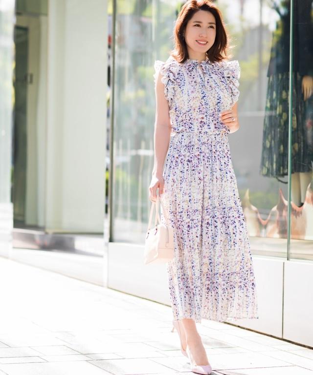 6月21日午前0:00再販!《高田麻紀子さんコラボ》パターン花柄プリーツスカート