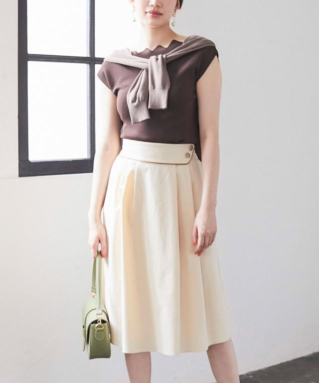 アシメタックウエストデザインスカート*SALE品につき返品/交換/注文確定後の変更キャンセル不可*