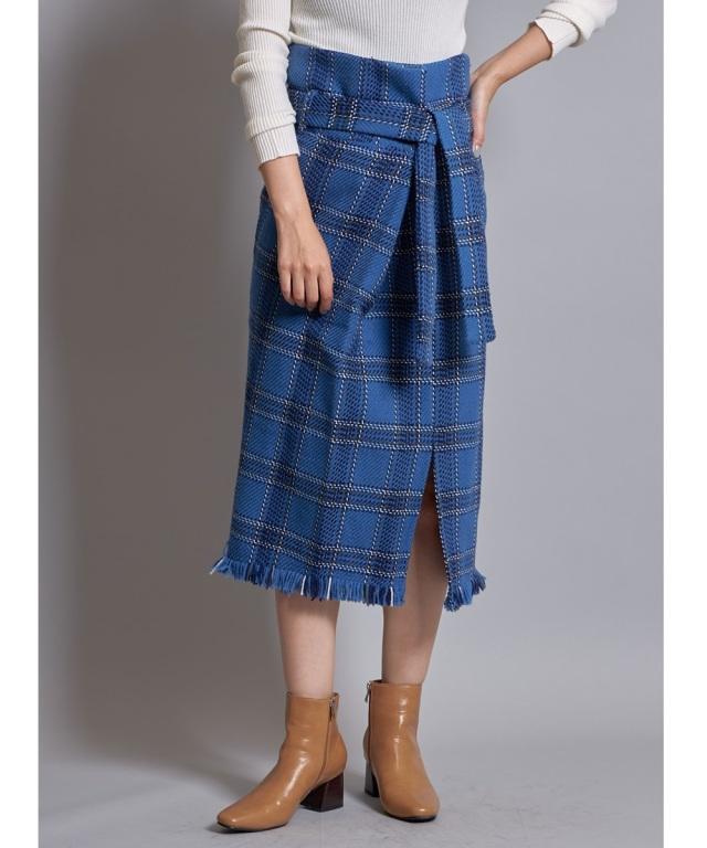 9月26日午前0:00再販!Luxe line チェックツイードラップタイトスカート*SALE品につき返品/交換/注文確定後の変更キャンセル不可*