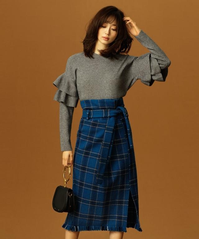 【松島花さん着用】Luxe line チェックツイードラップタイトスカート