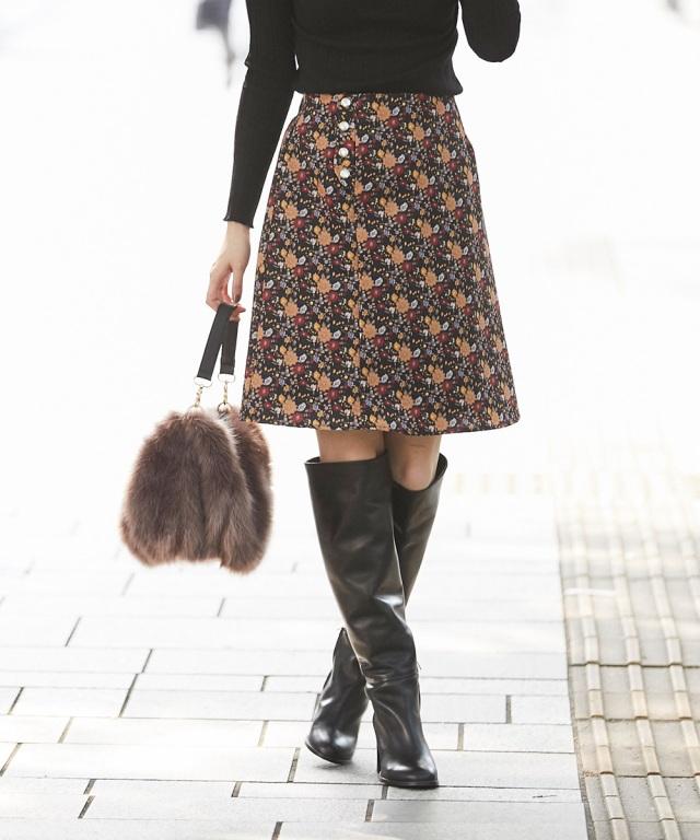 スナップデザイン花柄スカート*SALE品につき返品/交換/注文確定後の変更キャンセル不可*
