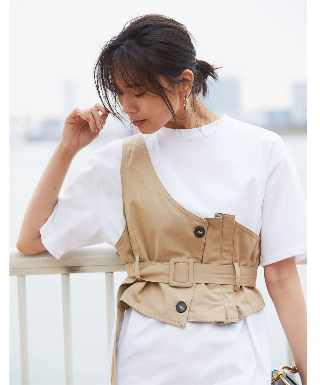 《WEB限定》アシメベスト付Tシャツ