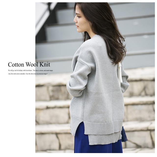 【Cotton wool knit】レディース 綿 ウール ニット