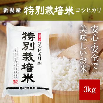 新米 30年産 新潟産コシヒカリ 特別栽培米3kg