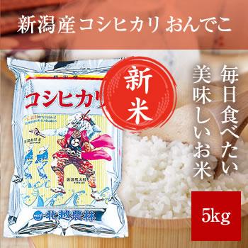 【新米予約】 新潟産コシヒカリ おんでこ 5kg 【令和3年産 9月下旬頃発送】
