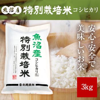 30年産  魚沼産コシヒカリ 特別栽培米3kg