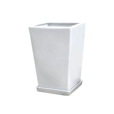 【インテリア鉢/白鉢/陶器鉢/6号】LO エルオースクエアー 21cm HO-101-2SW