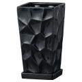 【インテリア/室内用植木鉢】ミラースクエア15cmブラック HO-401B