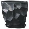 【インテリア/室内用植木鉢】ミラーオーバル(楕円形)30cmブラック HO-410B