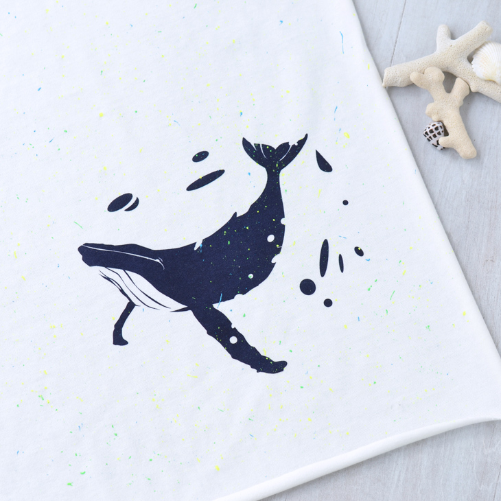 アートファブリッククジラ 蛍光スプラッシュベース生地クラシック