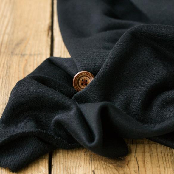 【ニット】表面がきれいなナイロン入りやわらか裏毛ニット(ブラック)  オーダーカット