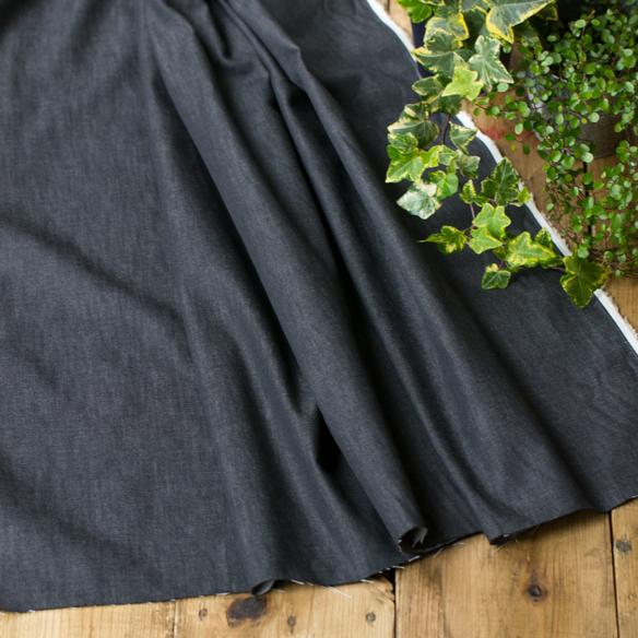 【布帛】家庭用ミシンでも縫いやすい・防縮加工7オンスデニム(ブラック) オーダーカット