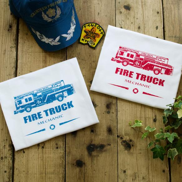 【アートファブリック】FIRE TRUCK(ベース:クラシック天竺)