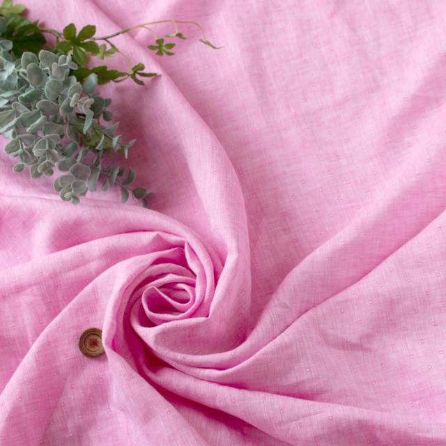 【布帛】プチドット模様ふわっとリネン(ピンク) オーダーカット
