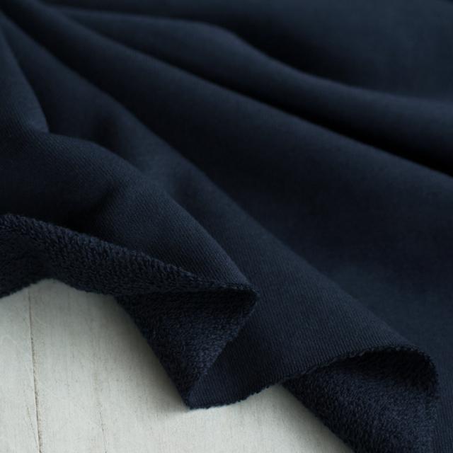 【ニット】使いやすい厚みのスタンダードな裏毛ニット(ネイビー)  オーダーカット