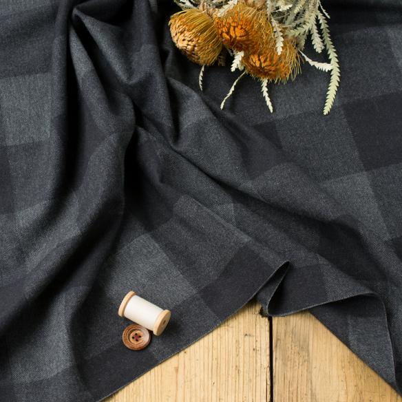 【布帛】あったか起毛ブロックチェック(ブラック) オーダーカット