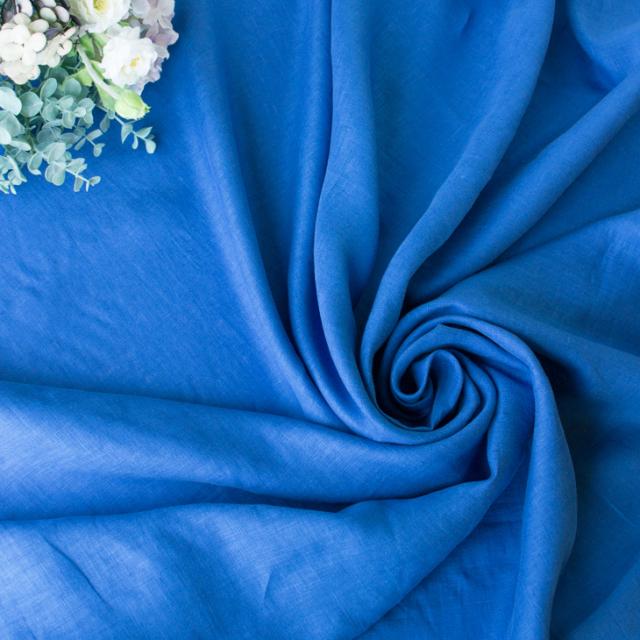 【布帛】くったりフレンチリネン(ブルー)  オーダーカット