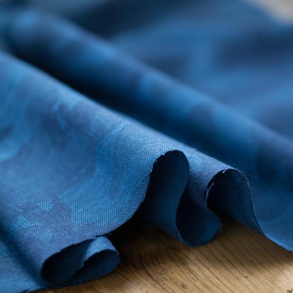 【布帛】カモフラージュ柄やわらかジャガード(インディゴブルー) オーダーカット