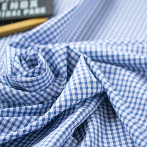 【布帛】ローンより少し厚みがあるコットン・リネンA(チェック柄/薄群青)オーダーカット