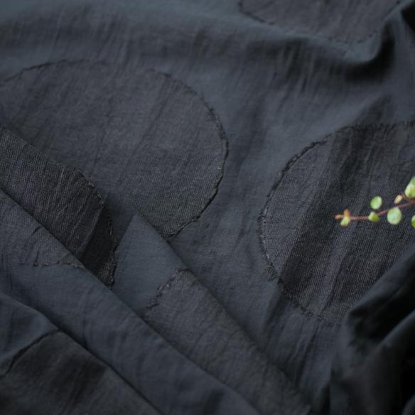 【☆100cm単位でカット】【布帛】ビックサークルジャガード(ブラック)
