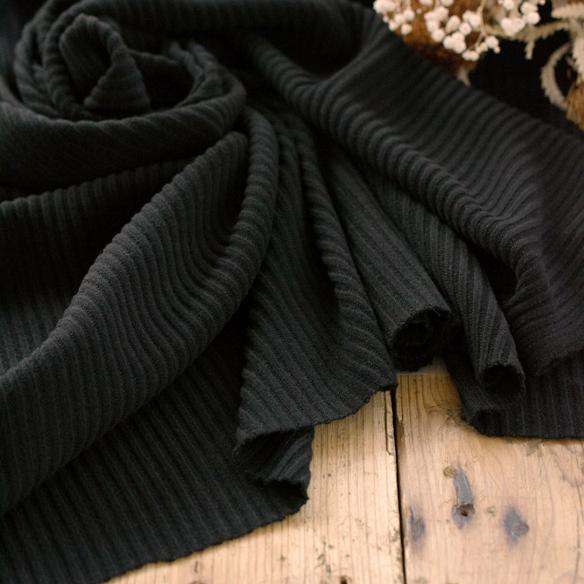 【ニット】表微起毛うねニット(ブラック) オーダーカット