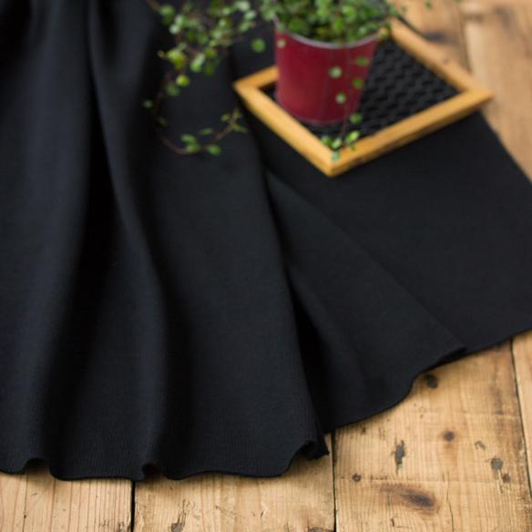 【ニット】メンズのセーター風しっかり厚手天竺(ブラック)オーダーカット