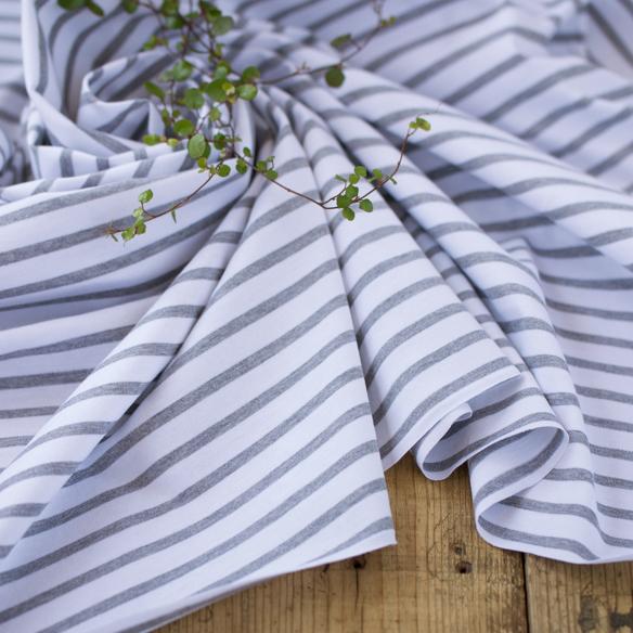 【ニット】家庭用ミシンでも縫いやすい40/2天竺ボーダー(グレー杢×オフホワイト) オーダーカット