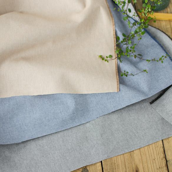 【布帛】綿に近い肌ざわりのリサイクルポリエステル混ダンガリー(3色展開)