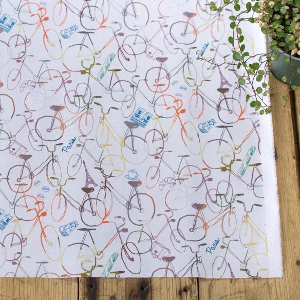 【布帛】Textile さらら「パリの自転車」インクジェットプリント