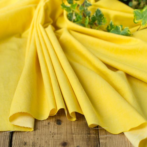 【カットクロス/120cm】家庭用ミシンでも縫いやすい・やわらか5.5オンスデニム(サンフラワーイエロー)