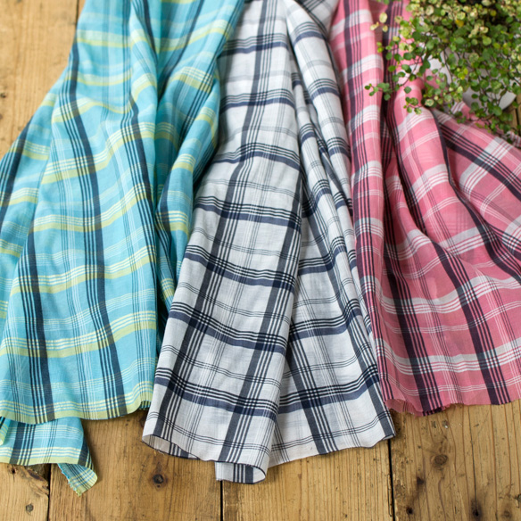 【布帛】ブラウスやスカートに!シルク・チェック柄オーガンジー(3色) オーダーカット