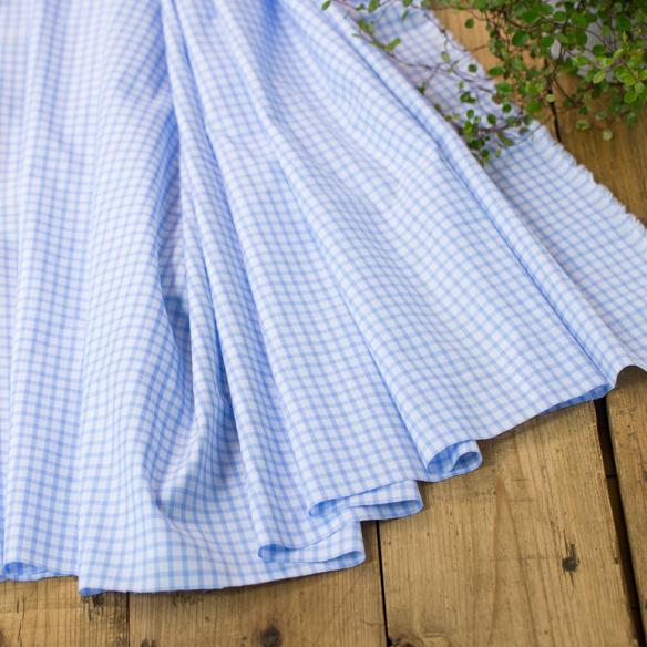 【布帛】上質なチェックのシャツ生地(水色×白)オーダーカット