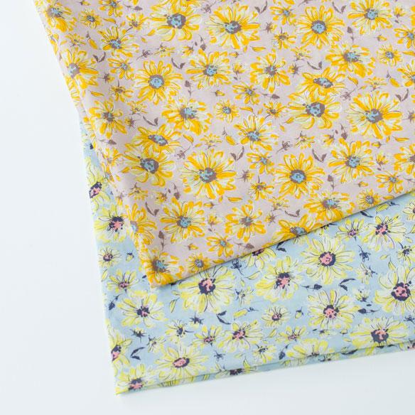 【布帛】60ローン/ぬのくらオリジナル・里山の布「姫ひまわり」(2色展開) オーダーカット